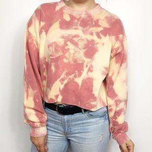 VINTAGE | Pink Bleached Cropped Knit Crewneck MED